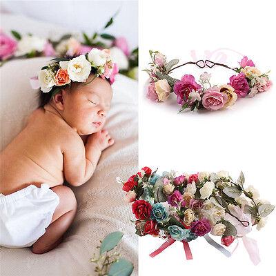 Flower Headband Kid Wreath Party Wedding Floral Garland Forehead Hair Headpiece