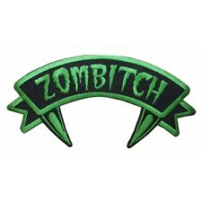 """Zombitch"" Tag Zombie Crazy Fangs Kreepsville Embroidered Iron On Applique Patch"