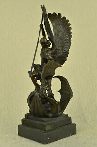 Huge-Solid-Bronze-Saint-Michael-Dragon-Slayer-Lost-Wax-Method-Sculpture-Decor