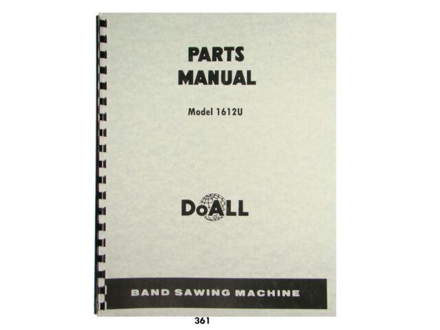 doall model 1612u band saw parts manual 361 ebay rh ebay com Operators Manual Instruction Manual Book