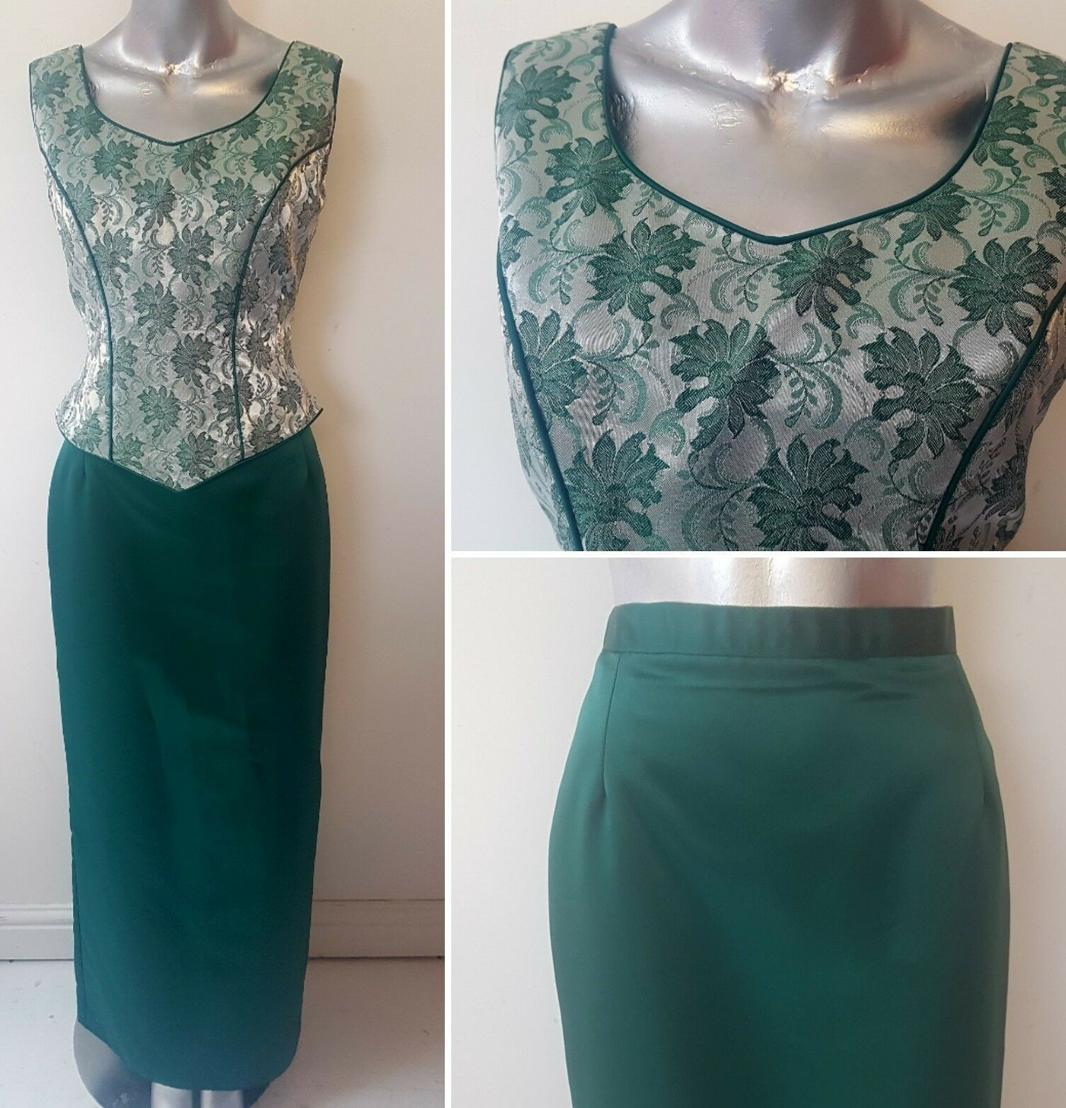 GREEN MEDIEVAL STYLE SKIRT & BODICE SIZE 8 10 RECONSTRUCTION COSPLAY DRESS (12)