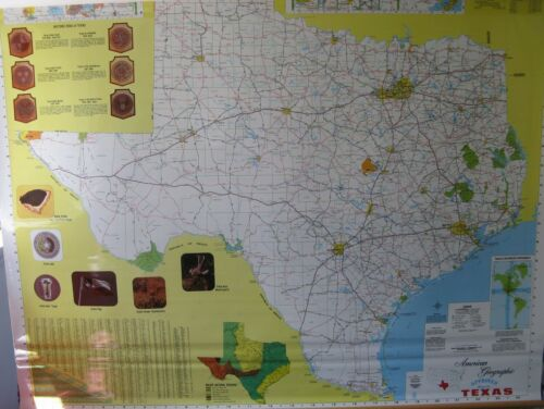 3-layer map TEXAS WORLD AND UNITED STATES MAP by CRAM measures 69 x 46 inches