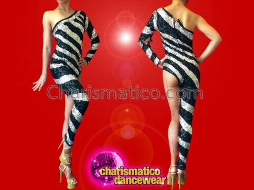Shimmering Black Sequin Asymmetrical Catsuit With Wide Metallic Silver Stripes