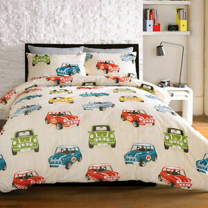 Bedding Minis Mini Cooper Retro Cars Cream Beige Duvet Cover Quilt ... : beige quilt cover - Adamdwight.com