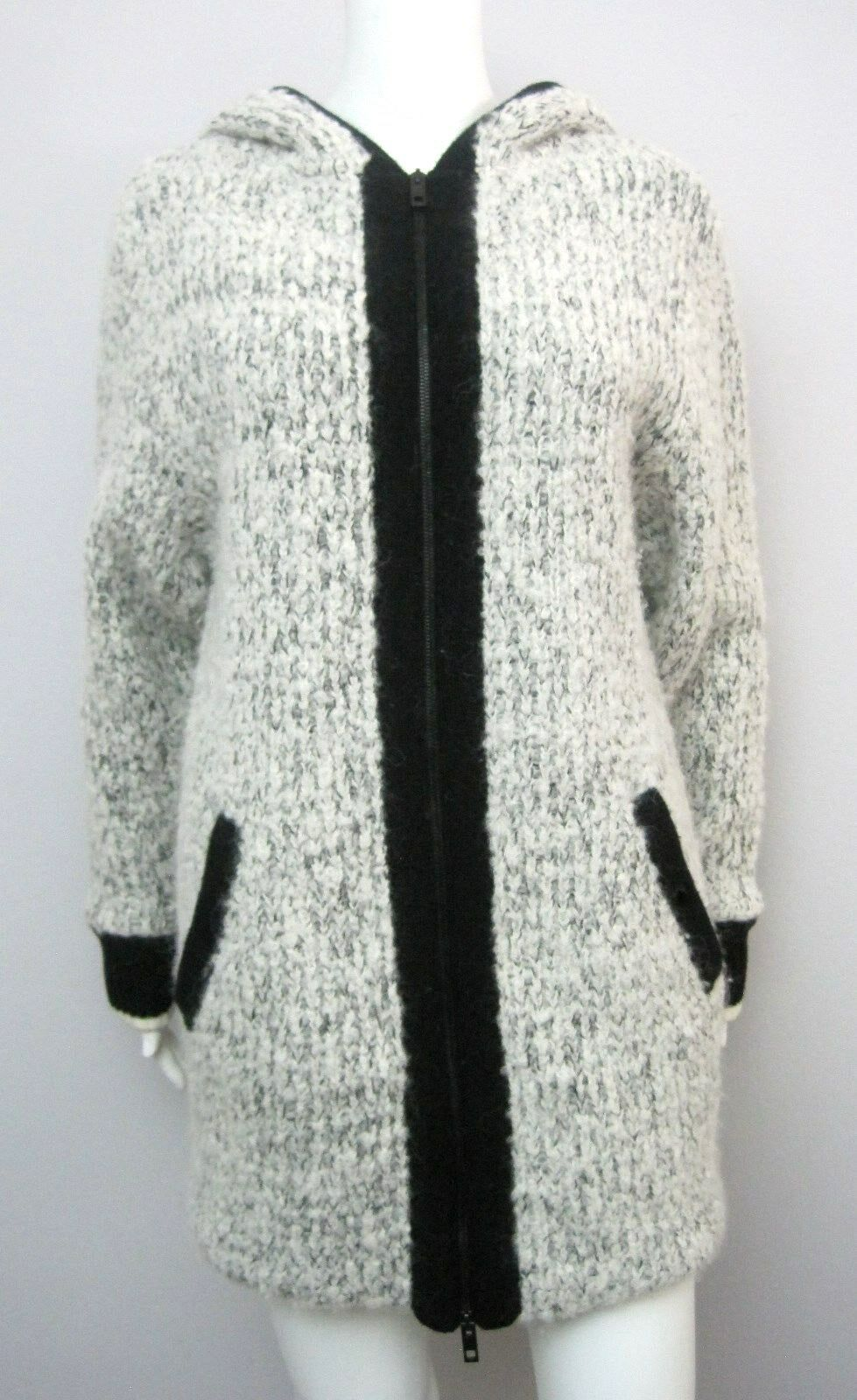 RAG & BONE Adele Wool Alpaca Knit Hooded Sweater Coat, sz XSmall