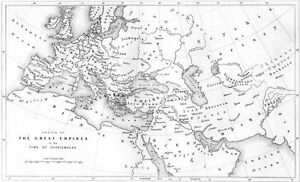 Details about 8TH CENTURY EUROPE MAP CHARLEMAGNE BYZANTINE EMPIRES ~ 1850  Art Print Engraving