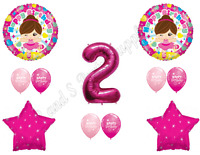 Tutu Cute 2nd Birthday Party Balloons Decoration Supplies Second Ballerina Two