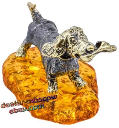 Bronze Solid Brass Baltic Amber Figurine Dog Dachshund with Slipper IronWork