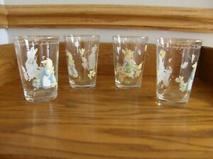Set-4-Williams-Sonoma-Peter-Rabbit-Glass-Tumblers-Easter-Kids-Birthday-Party-New
