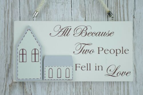 Wall Plaque All Because Two People Fell in Love Wedding Charm 21cm Mr Mrs F1679A