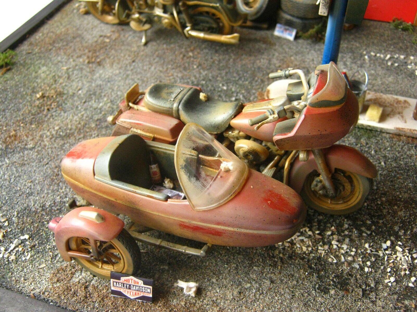 Harley Davidson with sidecar in 1 18 barn find handwork  modellich  unrestored