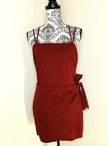 Women-039-s-ALLY-Red-Burgundy-Casual-Style-Wrap-Side-Tie-Short-Dress-Size-14-EUC