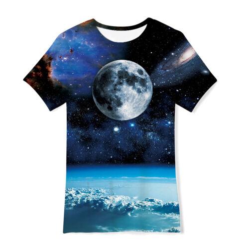 Boys Girls Galaxy Space T-Shirt Kids Short Sleeve 3D Print Unisex Tee Top 6T-16T