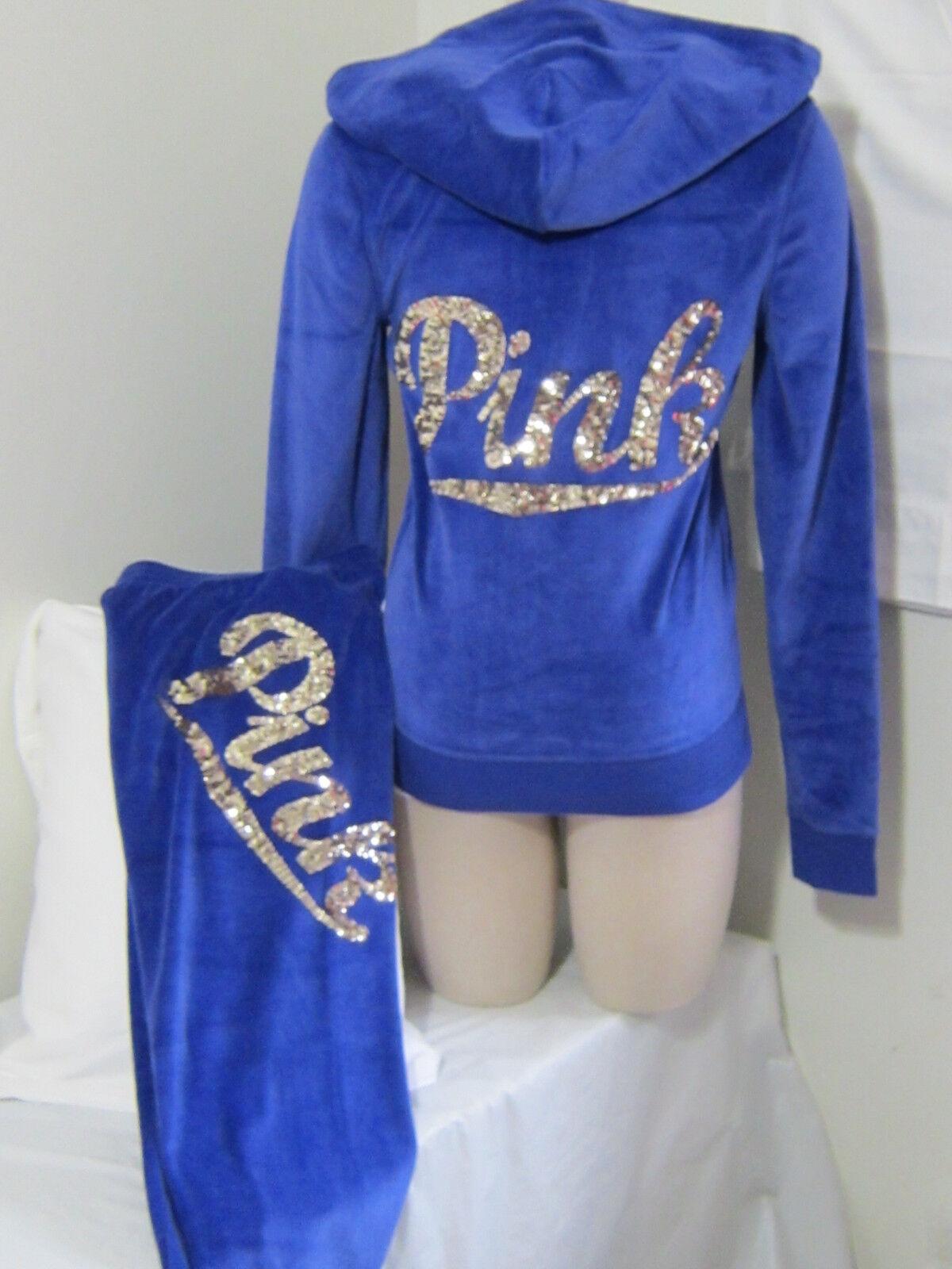 Limited BLING SET Victoria Secret Pink SEQUIN bluee VELOUR HOODIE + SKINNY PANT S