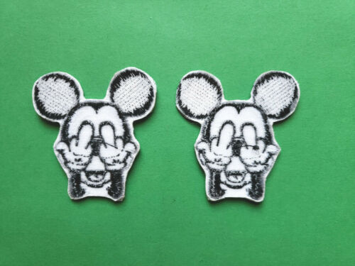 2 LOT RUDE BAD MICKEY MOUSE GIVING THE MIDDLE FINGERS PATCHES