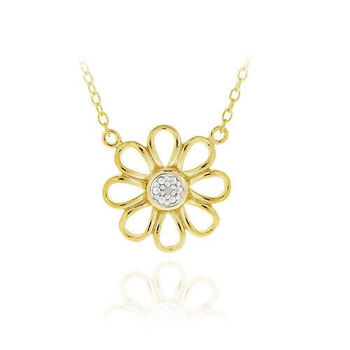 Or 18K Sur Argent Diamant Accent Daisy Fleur Collier