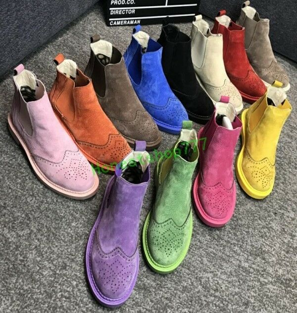 Fashion Womens Retro Brogue Slip On Ankle Boots Suede Flat Occident Motor shoes