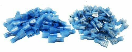 200pcs MALE+FEMALE METRA INSULATED QUICK DISCONNECT TERMINAL NYLON Blue 16-14AWG