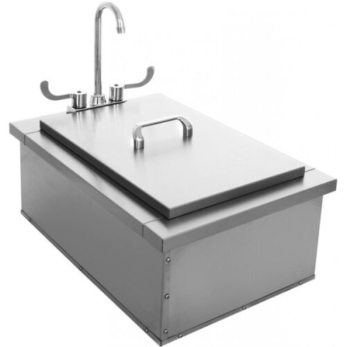 BBQ Island 15 x 24 Insulated Sink With Faucet and Condiment Tray