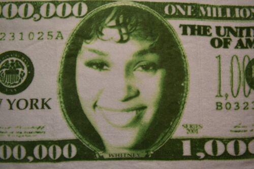 Whitney Houston Nothing but Love Tour 1,000,000 Dollar Bill Serviette à main NEUF RARE