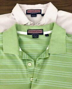 Lot-2-Vineyard-Vines-Polo-Golf-Shirt-Striped-Green-Pink-Whale-Mens-S-Small-E12