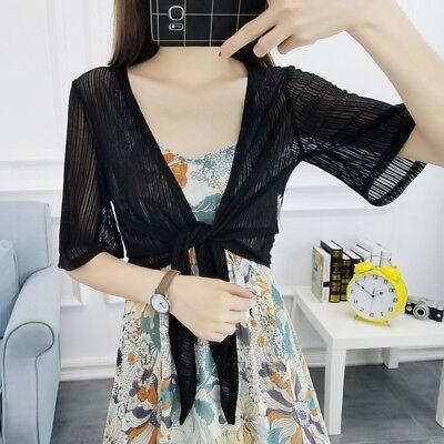 Ladies Chiffon Wrap Cardigan Crop Tops Coat Bolero Shawl Shrug Beach Blouse Lace