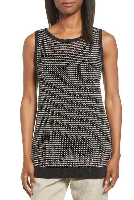 NEW Eileen Fisher Organic Cotton Blend Knit Tank in schwarz - Größe PM  T559