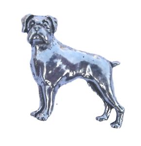 Pewter Rottweiler Dog Pin Badge