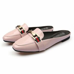 Women-Patent-Leather-Backless-Metallic-Buckle-Slides-Slipper-Flats-Mules-Loafers