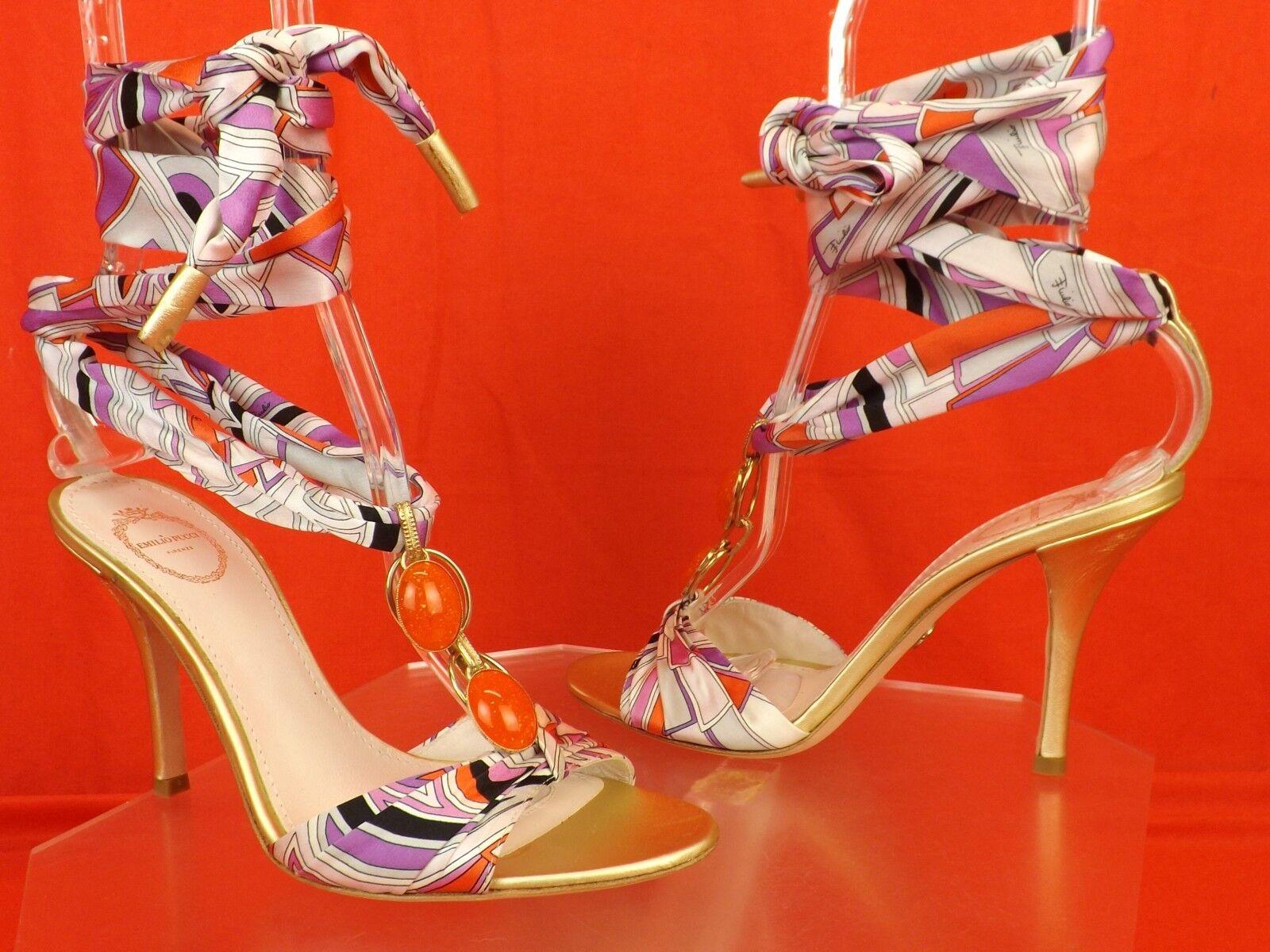 Neuf dans sa boîte Emilio Pucci Pucci Pucci MultiCouleure Bijoux en satin cheville Wrap Cuir Sandales Escarpins 37.5 7d6e21