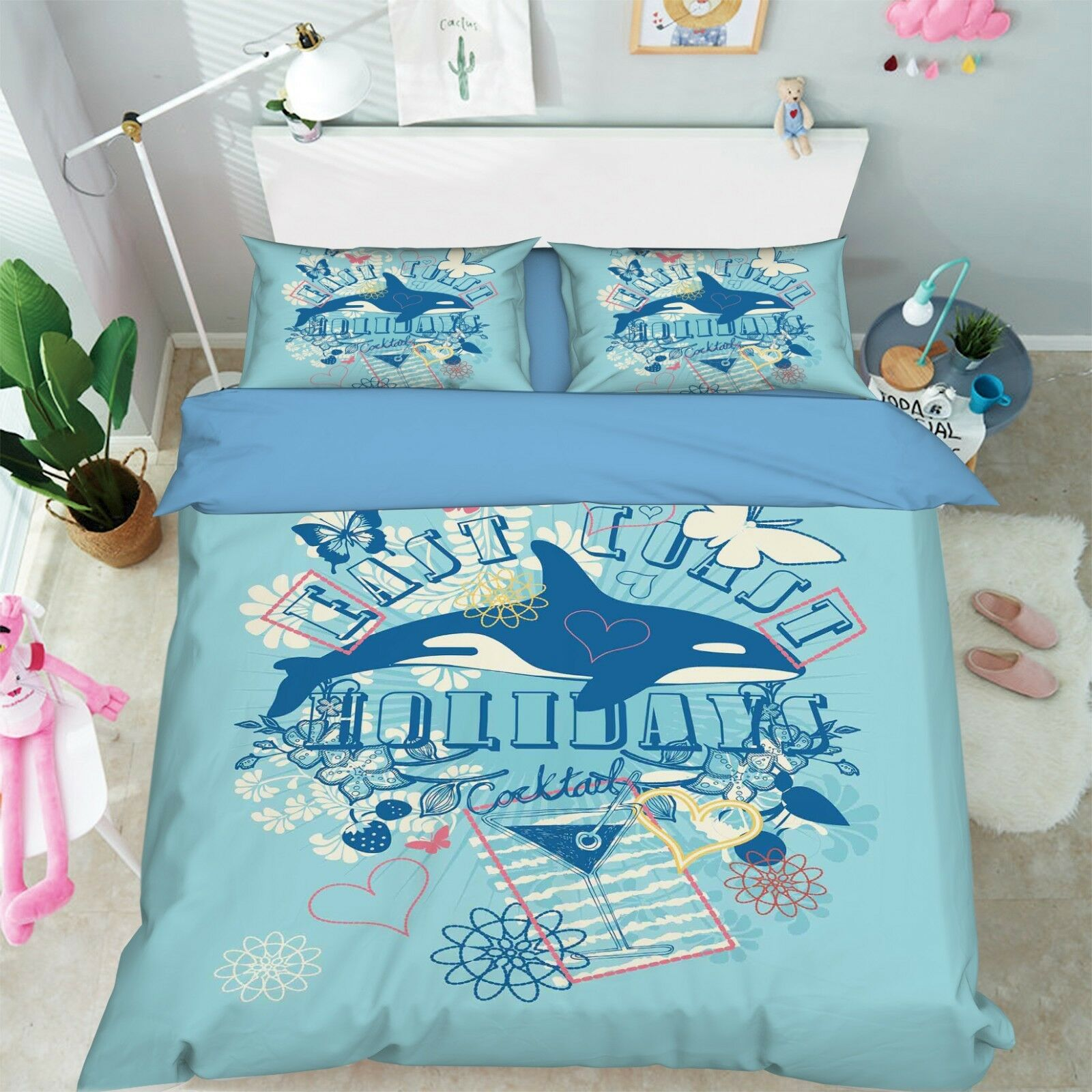 3D Dolphin Letter 4 Bed Pillowcases Quilt Duvet Cover Set Single Queen King AU