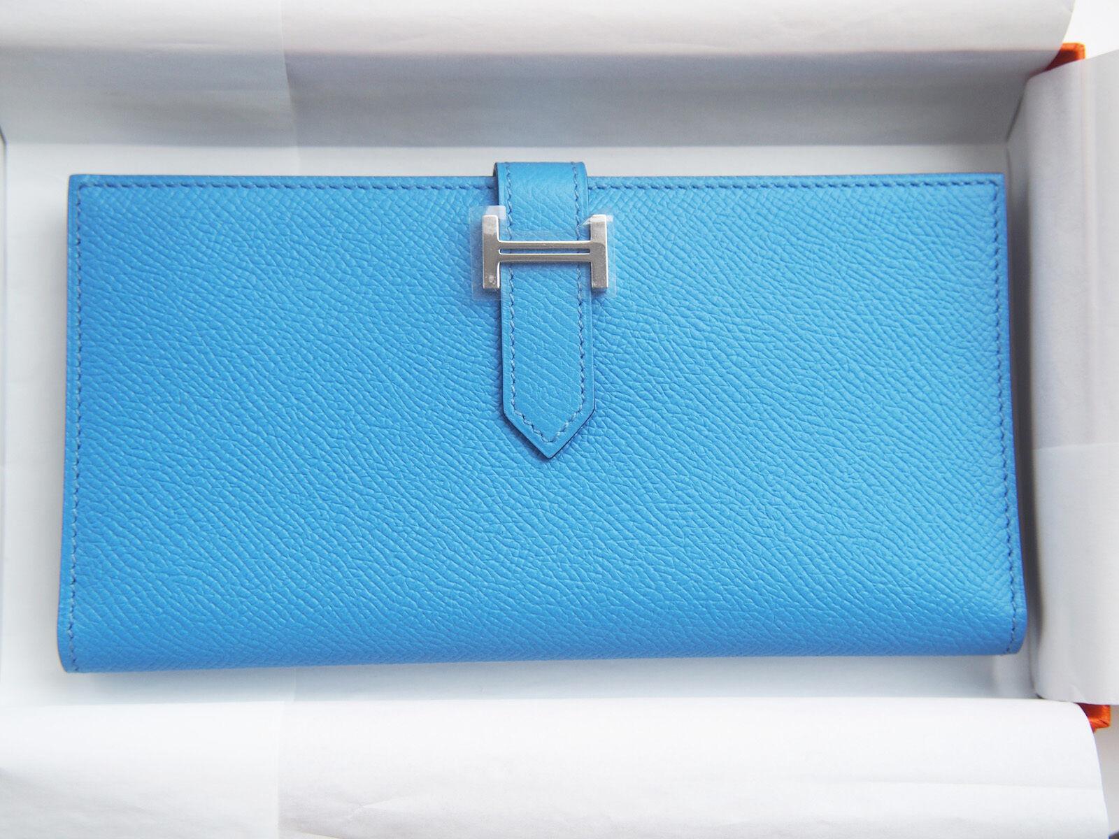 LOVELY Authentic NEW Hermes Bearn H Wallet BLUE Paradise Epsom leather PHW