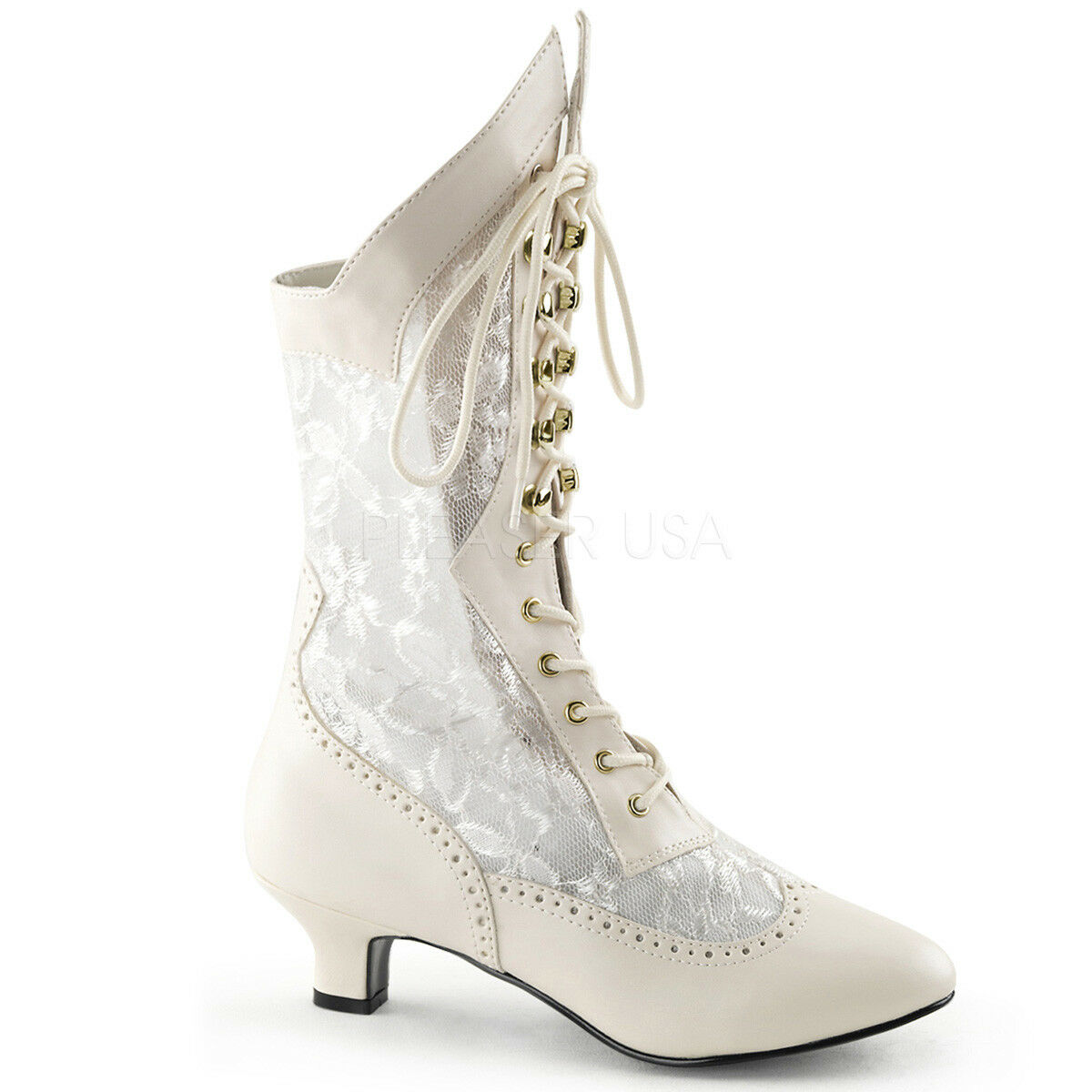 Victorian Steampunk Bridal Burlesque Kitten Heels White Ivory Lace Up Boots
