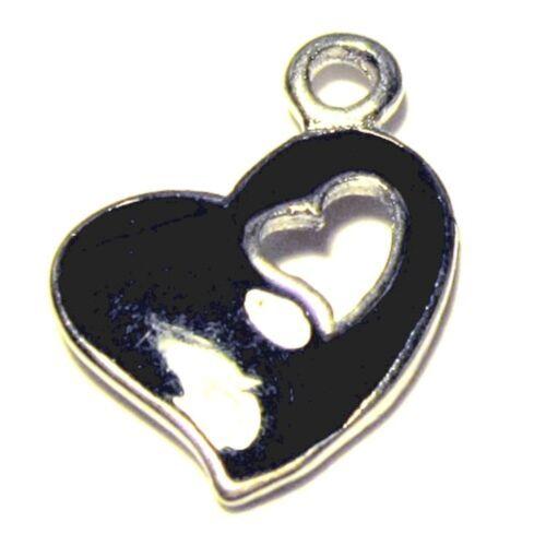 A0813 5 x of 13x17mm Heart Zinc Alloy Enamel Charm Pendants