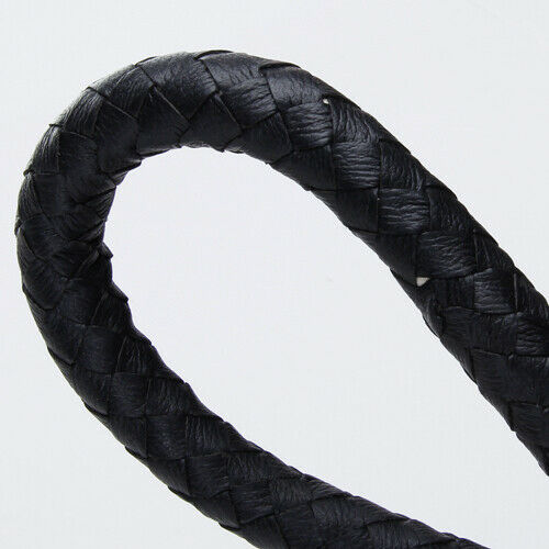 6ft Black Braided Leather Hunting Whip Bullwhip Handle