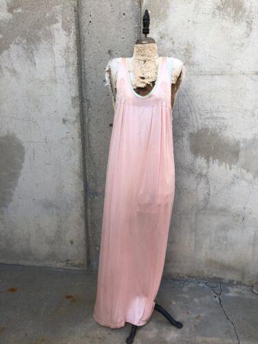 Vintage 1930s Pink & Green Silk &Rayon Maxi Dress