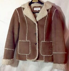 5946514bfe98 Calvin Klein Faux Shearling Fur Brown Jacket/ Coat size Small EUC ...