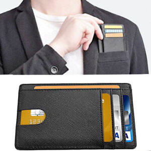 8d0752c9e24e Das Bild wird geladen Mens-RFID-Blocking-Leather-Slim-Wallet-Money-Clip-