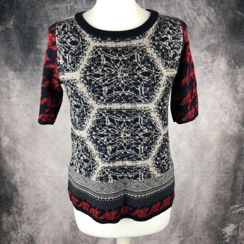 con scuro motivo in Maglione rosso Jigsaw nordico a 4 blu 3 geometrico maniche lana e xq07Aw850