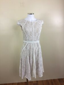 Cooper-St-Size-8-Cream-amp-Flesh-Cap-Sleeve-Fit-N-Flare-Mid-Calf-Dress-Nylon-Elast