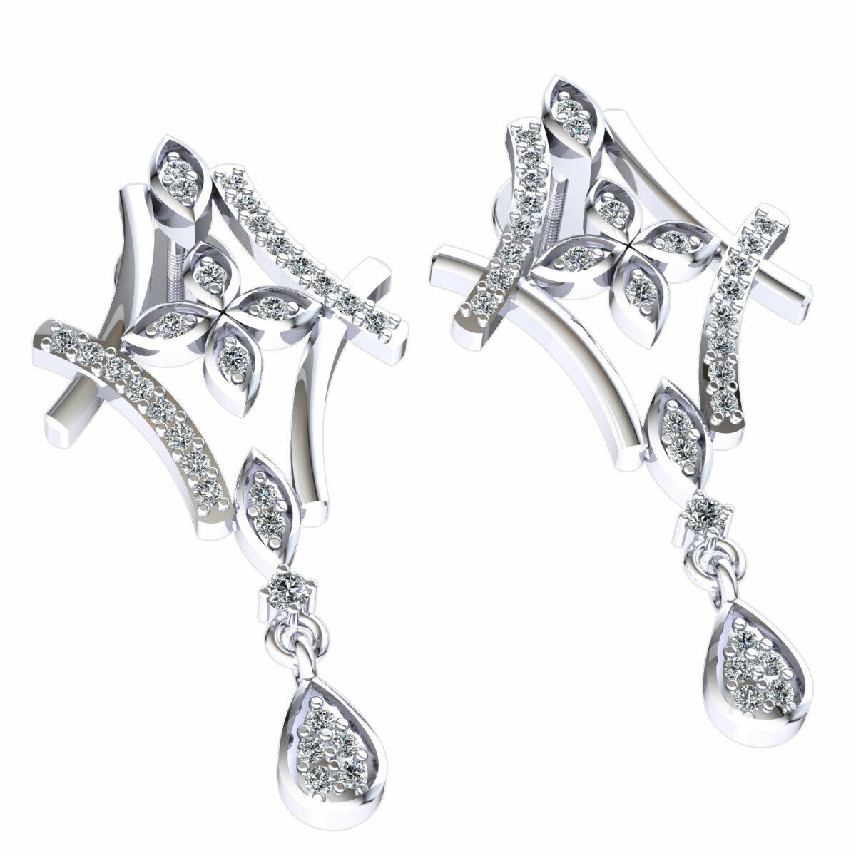 Natural 0.25ct Round Cut Diamond Ladies Flower Drop Earrings Solid 10K gold