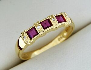 Bague Or jaune Massif 18 Carats - Rubis et Diamants -