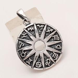 925-Sterling-Silver-ZodiacSign-Pendant-Tribal-Regional-Old-Fine-Handmade-Jewelry