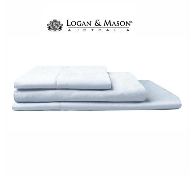 Logan and Mason HOTEL 500TC Sky Blau 100% Cotton Sheet Set Q QMega K KMega NEW