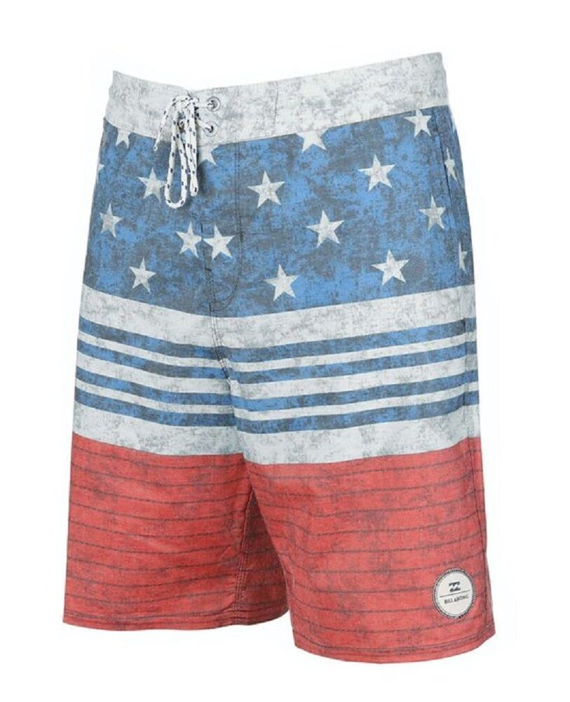 Billabong SPINNER LO TIDES Navy Red Grey Faded Stars & Stripes Men's Boardshorts