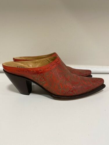Charlie 1 Horse By Lucchese Red Leather Floral Cow