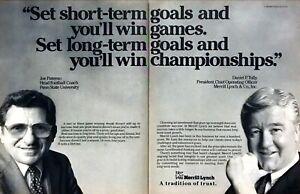 1988-Penn-State-Football-Coach-Joe-Paterno-photo-Merrill-Lynch-2-page-print-ad