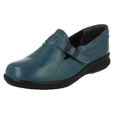 Easy B DE DB ' Jive ' Mujer Azul Verde Hebilla De Cuero Zapatos Anchos 4e Fit