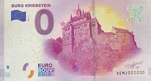 BILLET-0-EURO-BURG-KRIEBSTEIN-ALLEMAGNE-NUMERO-2200