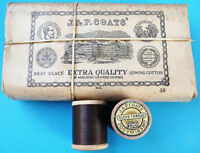 1860s J & P COATS'  Brown GLOVE THREAD- COLOUR 75- 12 wooden spools